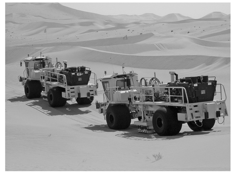 Figure 6: Seismic vibrators in the desert